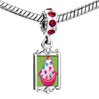 Charms Beads - red crystal dangle sweet heart cy Image.