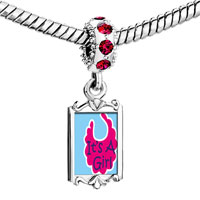 Charms Beads - red crystal dangle it' s a girl baby Image.