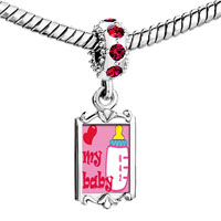 Charms Beads - red crystal dangle heart my baby bottle Image.