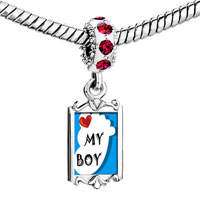 Charms Beads - red crystal dangle heart my baby boy foot blue Image.
