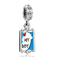 Clear Crystal Dangle Heart My Baby Boy Foot Blue