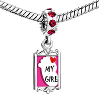 Charms Beads - red crystal dangle heart my girl foot pink backg Image.