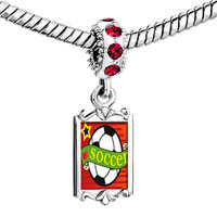 Charms Beads - red crystal dangle heart soccer sport Image.