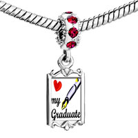 Charms Beads - red crystal dangle heart my graduate Image.