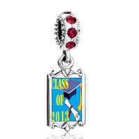 Charms Beads - red crystal dangle blue class 2013  graduation Image.