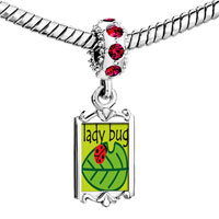 Charms Beads - red crystal dangle lady bug on leaf Image.