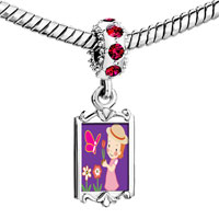 Charms Beads - red crystal dangle girl in the garden Image.