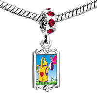 Charms Beads - red crystal dangle gardening water bucket Image.