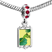 Charms Beads - red crystal dangle jumping frog Image.