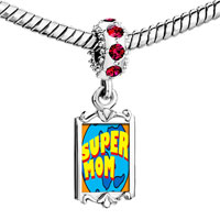 Charms Beads - red crystal dangle super mom Image.