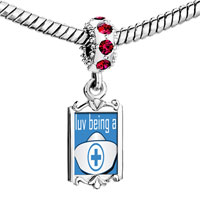 Charms Beads - red crystal dangle love being a nurse Image.
