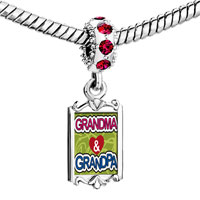 Charms Beads - red crystal dangle love grpa &  grma Image.