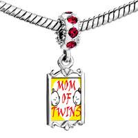 Charms Beads - red crystal dangle mom twins Image.