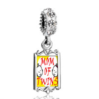Clear Crystal Dangle Mom Twins