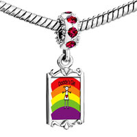 Charms Beads - red crystal dangle rainbow daddy' s girl Image.