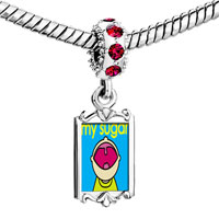 Charms Beads - red crystal dangle happy kid sugar Image.