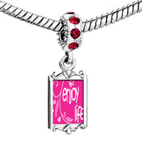 Charms Beads - red crystal dangle enjoy life hearts Image.