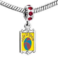 Charms Beads - red crystal dangle enjoying life Image.