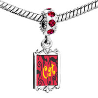 Charms Beads - red crystal dangle black gypsy cats Image.