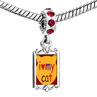 Charms Beads - red crystal dangle i heart my cat Image.