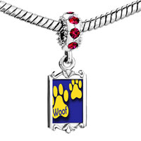 Charms Beads - red crystal dangle dog wo paw prints Image.
