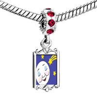 Charms Beads - red crystal dangle sleep tight moon star Image.