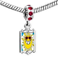 Charms Beads - red crystal dangle happy rockin'  sunshine Image.