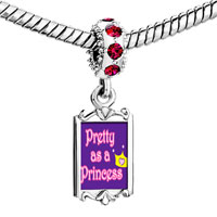 Charms Beads - red crystal dangle pretty princess crown Image.
