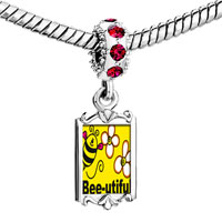 Charms Beads - red crystal dangle bee utiful flowers Image.