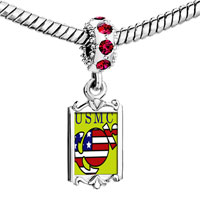 Charms Beads - red crystal dangle american usmc sailor Image.