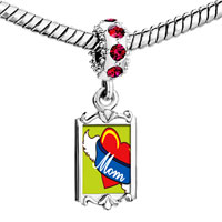 Charms Beads - red crystal dangle heart mom wings Image.