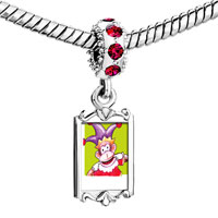 Charms Beads - red crystal dangle joker monkey Image.