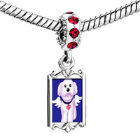 Charms Beads - red crystal dangle white dog from heaven Image.