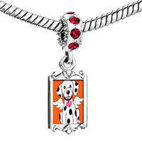 Charms Beads - red crystal dangle dalmatian dog from heaven Image.