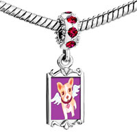 Charms Beads - red crystal dangle chihuahua dog from heaven Image.