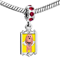 Charms Beads - red crystal dangle brown dog from heaven Image.