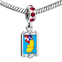 Charms Beads - red crystal dangle cute duck american flag Image.