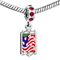 Charms Beads - red crystal dangle american flag hearts Image.