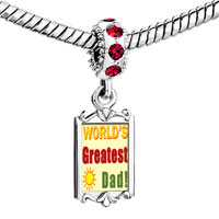 Charms Beads - red crystal dangle world' s greatest dad Image.