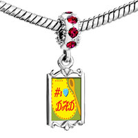 Charms Beads - red crystal dangle number 1  dad Image.