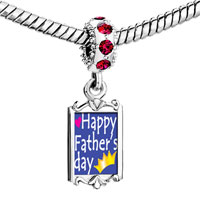 Charms Beads - red crystal dangle happy father' s day Image.