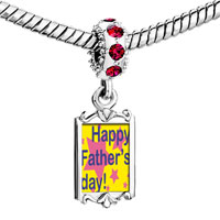 Charms Beads - red crystal dangle happy father' s day star Image.