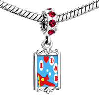 Charms Beads - red crystal dangle i love dad Image.