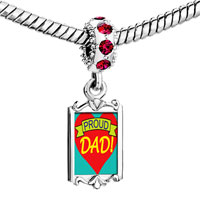 Charms Beads - red crystal dangle proud dad Image.