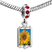 Charms Beads - red crystal dangle happy sunflower Image.