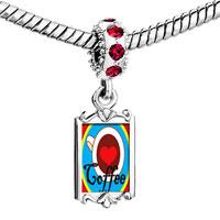 Charms Beads - red crystal dangle heart cfee Image.