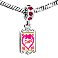 Charms Beads - red crystal dangle sweet hearts Image.