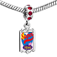 Charms Beads - red crystal dangle super mom heart Image.