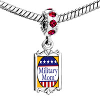 Charms Beads - red crystal dangle american military mom Image.