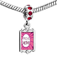 Charms Beads - red crystal dangle pink proud mom Image.